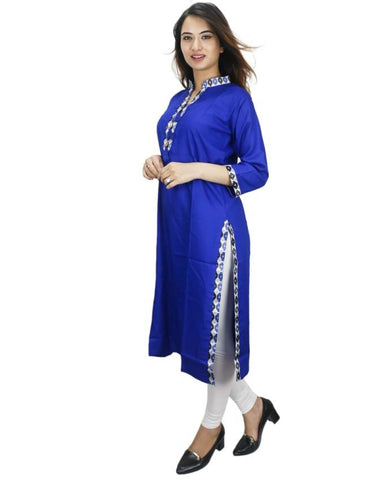 Bisesh Creation Royal Blue Front Buttoned Tasseled Rayon Kurti With Leggings For Women
