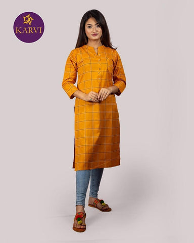 KARVI Yellow Checkered Print Kurti for Women with Front Button