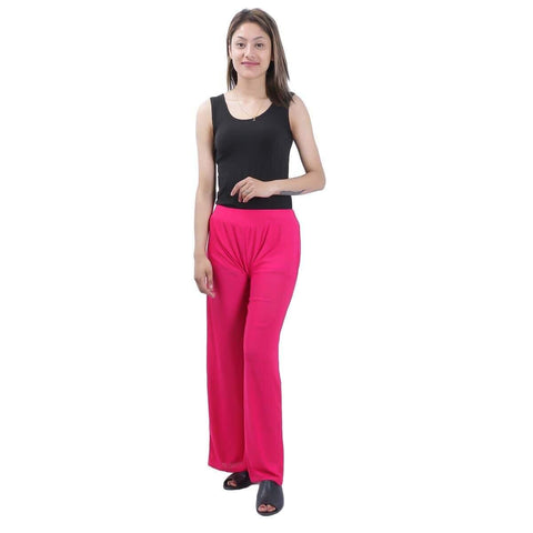 Pink Solid Wide Leg Strecthable Pant For Women price in nepal