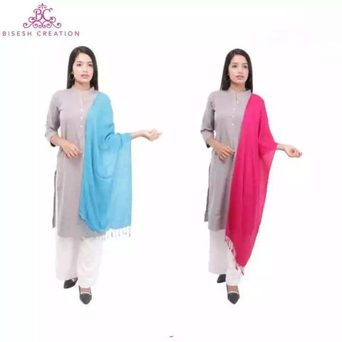 Bisesh Creation Set of 2 Solid Tassel End Shawl For Women