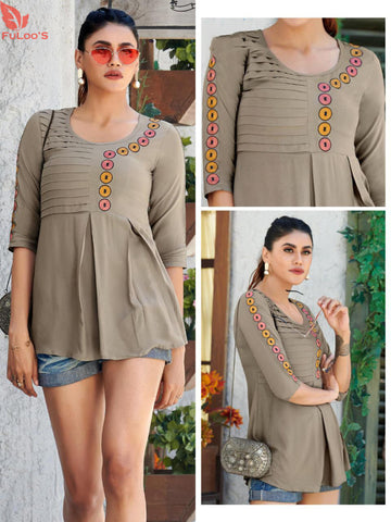 Fuloo Glazier Rayon tops with Embroidery for Women # 1029