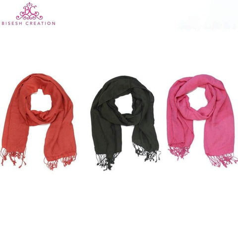 Bisesh Creation Set of 3 Solid Tassel End Shawl For Women price in nepal