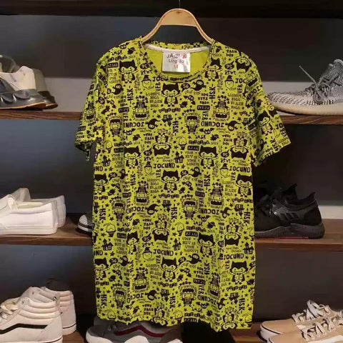 Neon Pattern Letter Summer T-Shirt For Men