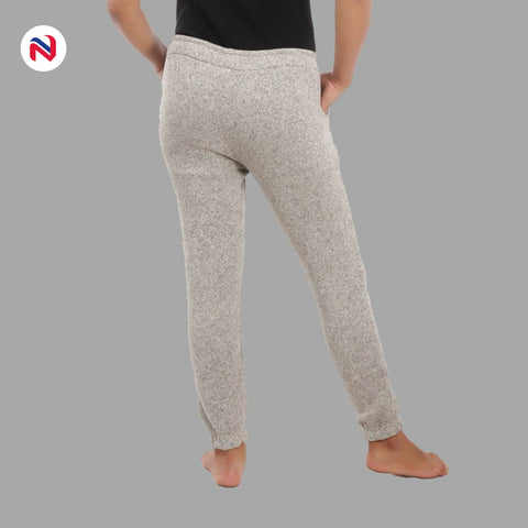 Nyptra Cream Plain/Side Stripes Inner Fleece Joggers For Women