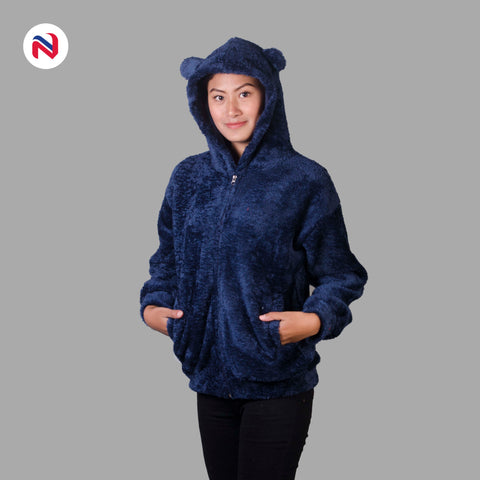 Nyptra Blue Solid Fur Pullover Hoodie Jacket For Women