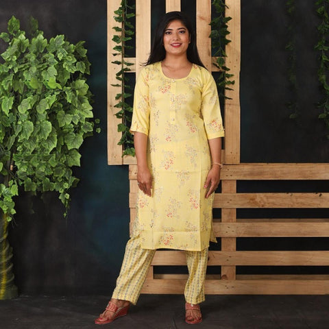 Yellow Floral Print Kurti with Golden Flower & Striped Pant Set for Women price in Nepal