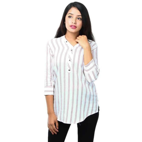 White Designer Pure Rayon Ready Made Printed Short Kurti For Women