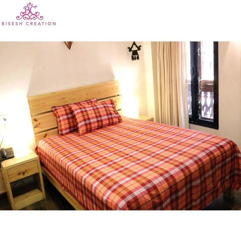 Bisesh Creation BD 03 Red black Checkered King Size Cotton Bed Sheet With 2 Pillow Cover
