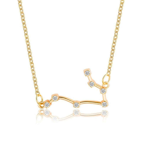 Gold Toned Gemini Virgo Twelve Constellation Pattern Zodiac Sign Necklace For Women price in Nepal