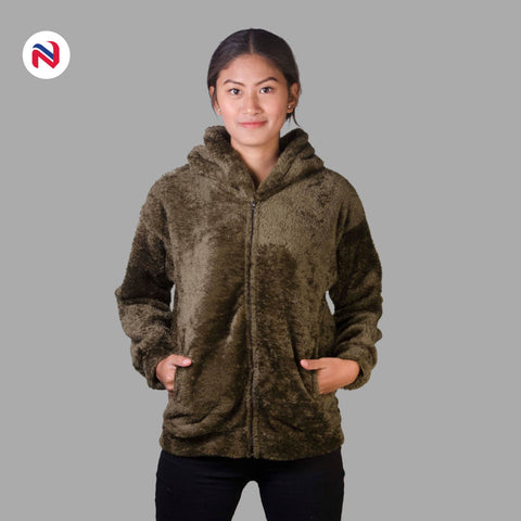 Nyptra Green Solid Fur Zippered Hoodie Jacket For Women price in nepal