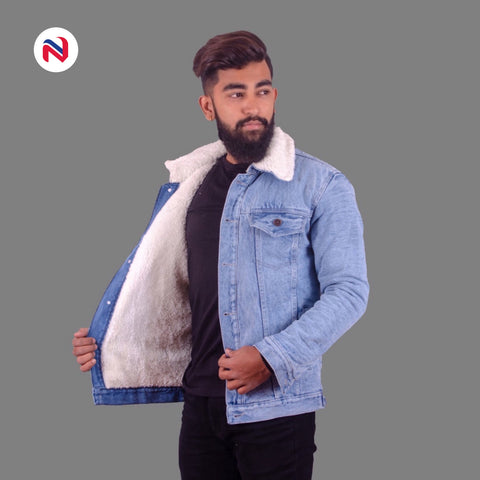 Nyptra Light Blue Solid Fur Denim Jacket For Men price in nepal
