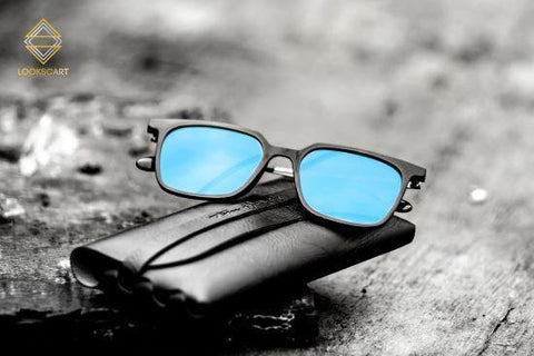 Lookscart Square Black Frame Mercury Blue Lens Uv400+ Unisex Sunglass