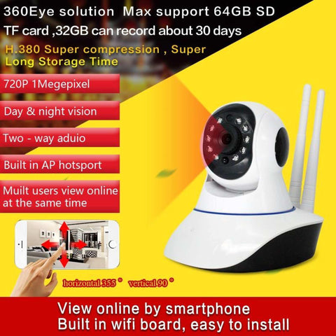Hd 720P 360 Eye Degree Panoramic Wifi Camera Ip P2P Cam H.264 Ir Night Vision 1 Mp 3.66Mm Lens For Home Office Security price in nepal