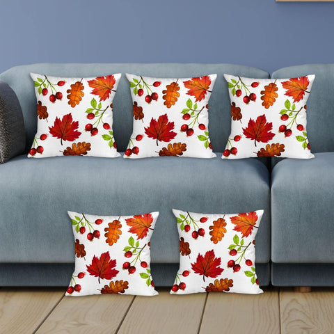 Peacock Printed 5 Pieces Cushion Cover Set