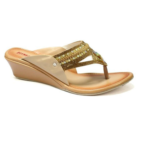 Golden/Brown V-Strap Wedge Heel Shoes For Women price in nepal