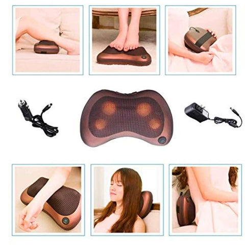 8Balls Infrared Heating Car & Home Body Massage Pillow Neck Cervical Traction Massager Car Seat Cover Relax / By Shophill
