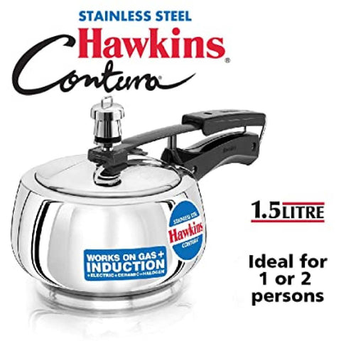 Hawkins Induction Base Stainless Steel Contura 1.5Litre Pressure Cooker SSS15