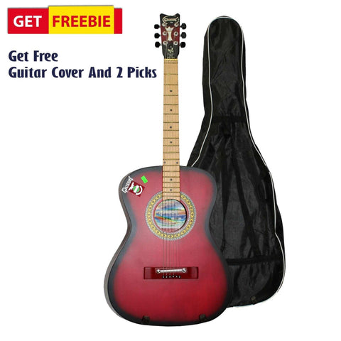 Red Medium Indian Guitar With Bag And 2 Picks