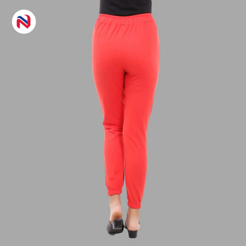 Nyptra Red Plain/Side Stripes Joggers For Women
