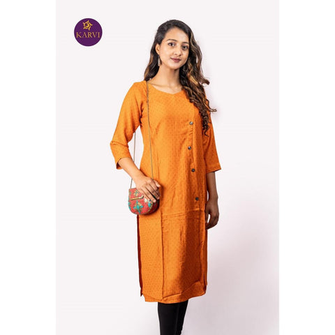 KARVI Orange Side Buttoned Simple Pattern Design Kurti For Women price in Nepal