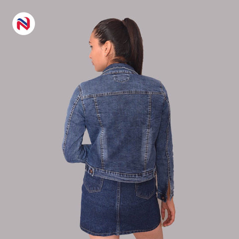 Nyptra Blue Crop Denim Jacket For Women