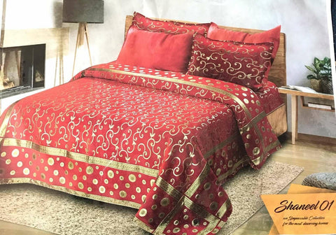 Shaneel Velvet Bed Sheet with 2 Pillow Covers