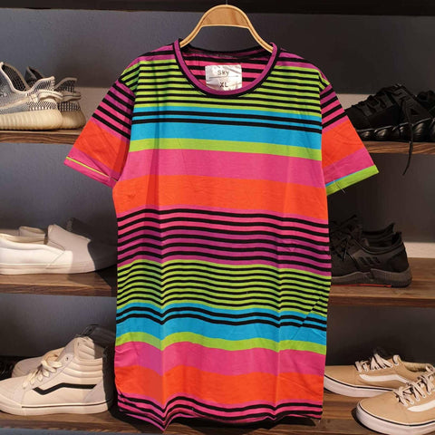 Rainbow Stripe Pattern Summer T-Shirt For Men