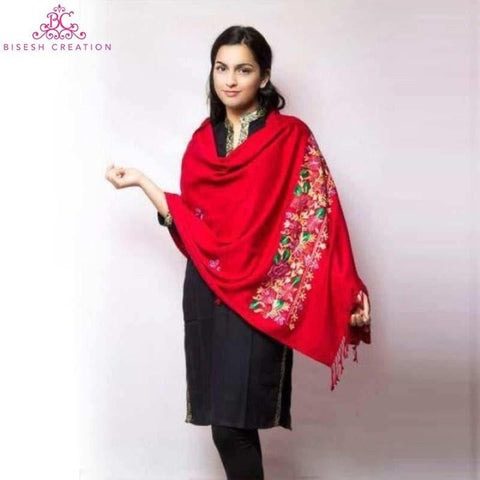 Red Kashmiri Embroidered Acrylic Pashmina Shawl For Women