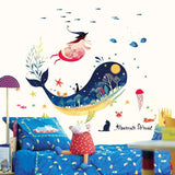 Ocean Cartoon Blue Whale Under The Sea Fishes Wall Stickers