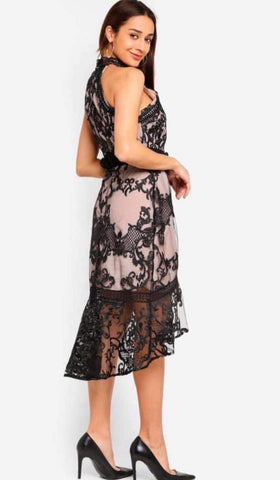Td Casual/Partywear Halterneck Lace Dress