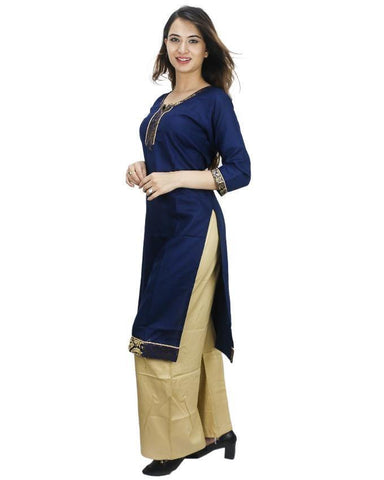 Bisesh Creation Navy Blue/Beige Bordered Laced Kurti With Palazzo For Women