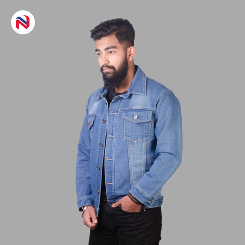 Nyptra Light Blue Solid Stretchable Denim Jeans Jacket For Men