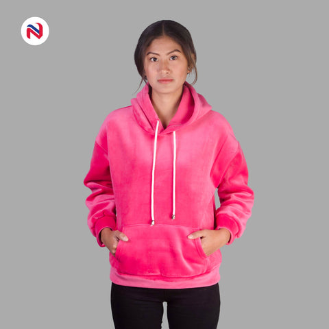 Nyptra Pink Solid Velvet Pullover Hoodie For Women price in nepal