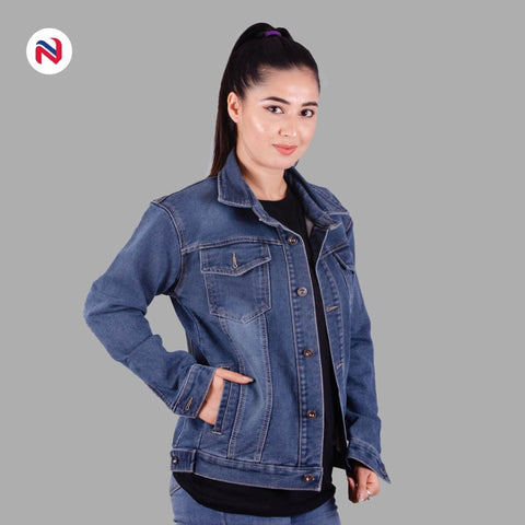 Nyptra Blue Oversized Premium Solid Denim Jacket For Women price in nepal
