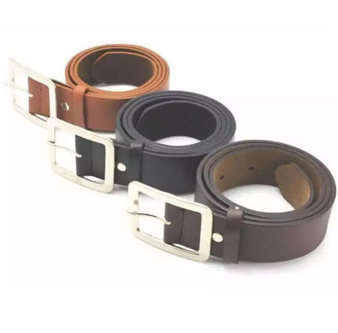 Set Of 3 Adult Men's Casual Faux Leather Belt Buckle Fashion Men Business Waist Strap Belts Accessories By Arushi Price in Nepal