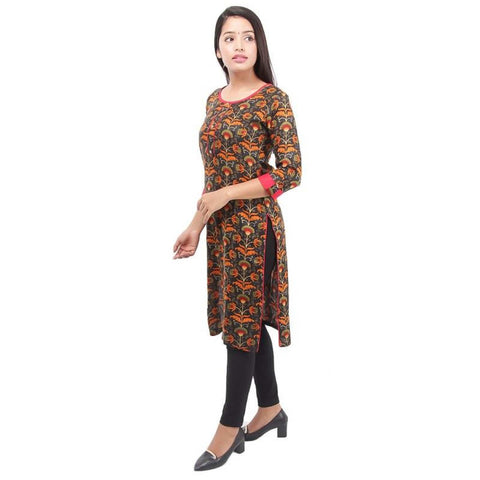Bisesh Creation Black/Orange Floral Printed Front Buttoned Kurti For Women