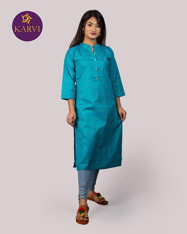 KARVI Blue Checkered Print Kurti for Women with Front Button price in Nepal