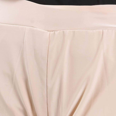 Cream Solid Wide Leg Strecthable Pant For Women