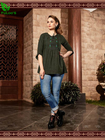 Senorita Rayon Handwork Stylish Short Tops #1004 price in nepal