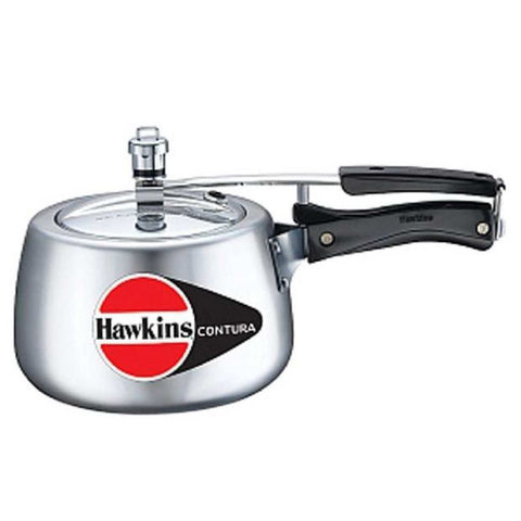 Hawkins Silver Aluminum Pressure Cooker With Free Recipe Book - 1.5 Litres