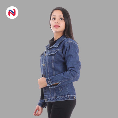 Nyptra Dark Blue Solid Denim Jacket For Women