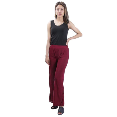 Maroon Solid Wide Leg Strecthable Pant For Women price in nepal