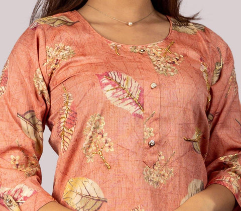 KARVI Peach Leaf Printed with Golden Beads Handwork Kurti for Women
