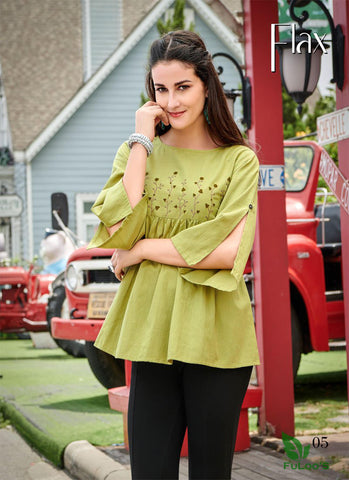 FLAX Cotton Designer Embroidered Short Tops. ( LIME GREEN) price in nepal