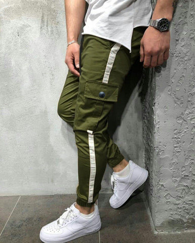 Green Designed Patchwork Lace-Up Men Casual Sport Pant