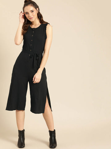 DB Women Black Solid Culotte Jumpsuit price in nepal
