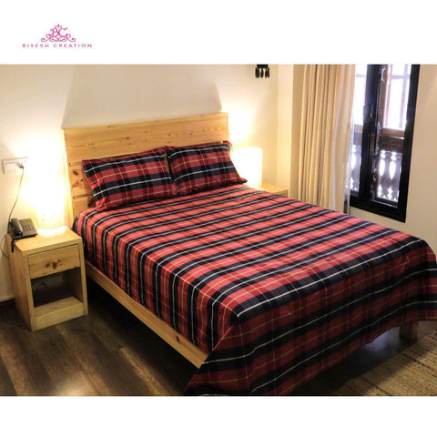 Bisesh Creation BD 03 Red black Checkered King Size Cotton Bed Sheet With 2 Pillow Cover price in nepal