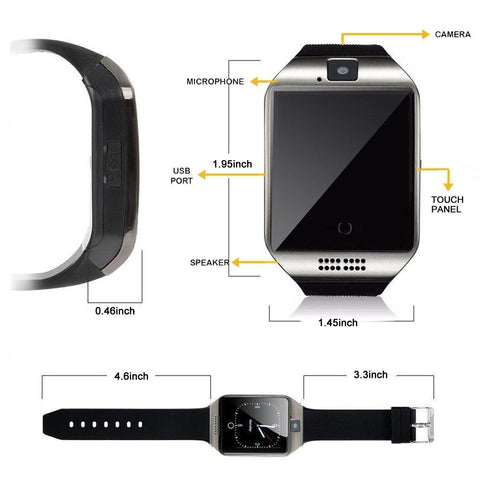 Q18 Smartwatch Bluetooth Sweatproof Phone With Camera Tf/Sim Card Slot