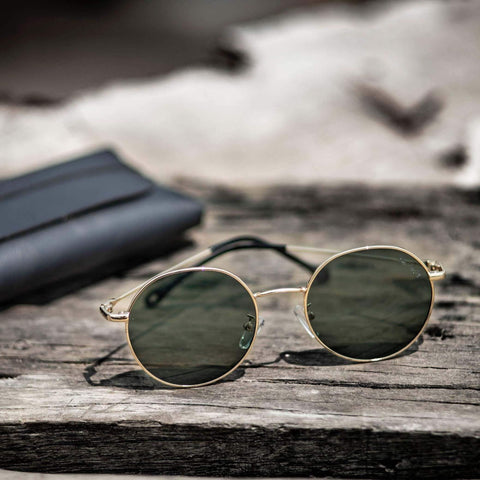 Tom Hardy Golden Frame With Green Lens Round Unisex Sunglasses