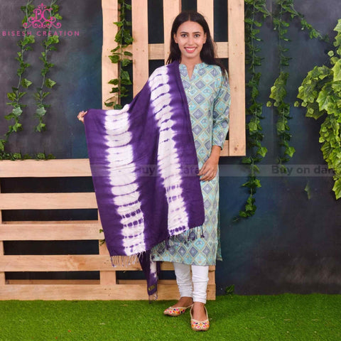 Bisesh Creation Purple Tie Dyed Acrylic Pashmina Shawl For Women